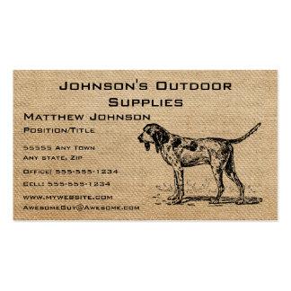 Burlap Vintage Hunting Dog Business Cards