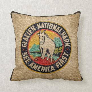 Burlap Vintage Label Glacier National Park Goat Cushion