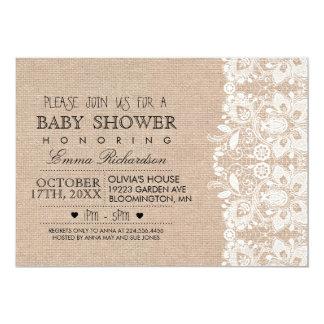 Burlap & Vintage Lace Baby Shower invitation