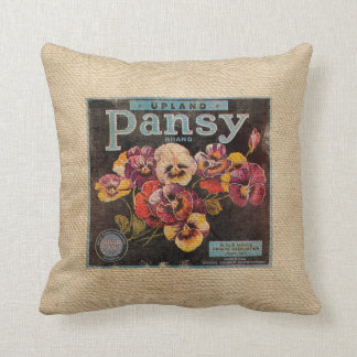 Burlap Vintage Pansey Flowers Cushion