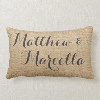 Burlap Vintage Personalized Wedding Names Date Lumbar Cushion