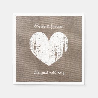 Burlap wedding napkins with rustic heart paper napkin
