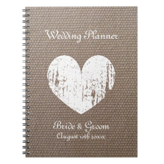 Burlap wedding planner organizer journal notebook