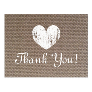 Burlap wedding thank you cards with rustic heart postcard