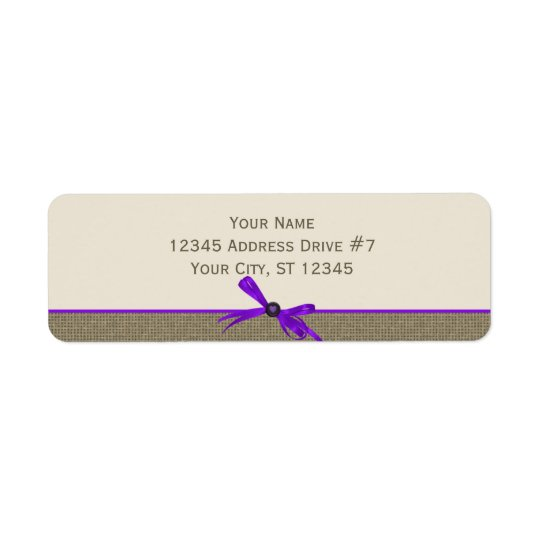 Burlap with Bow in Purple Return Address Label