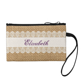 Burlap with Delicate Lace - Shabby Chic Monogram Change Purse
