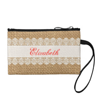 Burlap with Delicate Lace - Shabby Chic Monogram Coin Purses