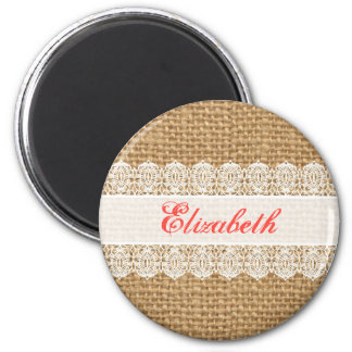 Burlap with Delicate Lace - Shabby Chic Monogram Magnets