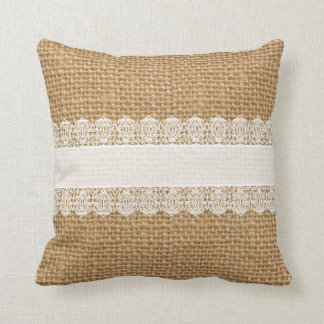 Burlap with Delicate Lace - Shabby Chic Style Throw Pillow