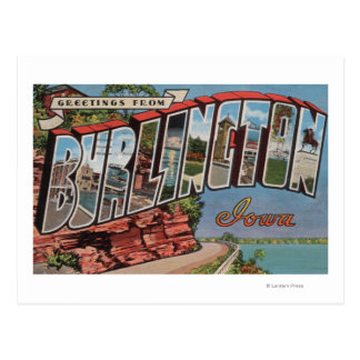 Burlington, Iowa - Large Letter Scenes Postcard