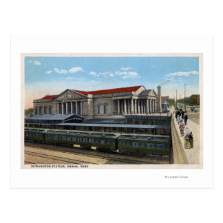 Burlington Railroad Station View Postcard