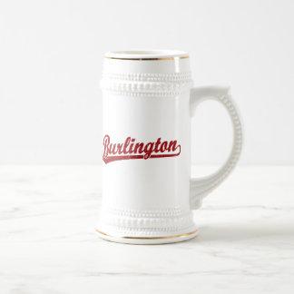 Burlington script logo in red beer steins