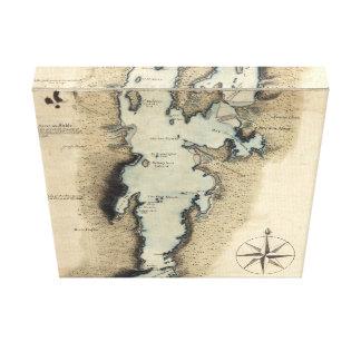 Burlington Vermont Map 1765 Stretched Canvas Prints