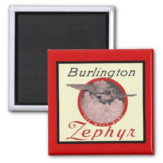 Burlington Zephyr Train Square Magnet