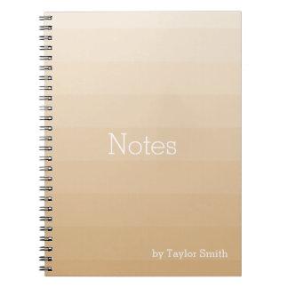 Burlywood Brown Tan Horizontal Shades Youthful Spiral Notebook