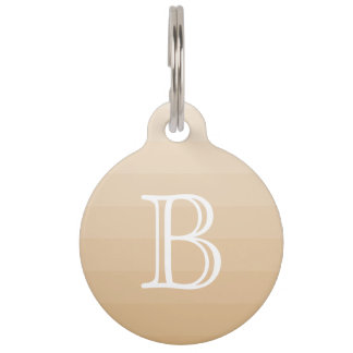 Burlywood Brown Tan Shades Monogram Initial Name Pet Tag