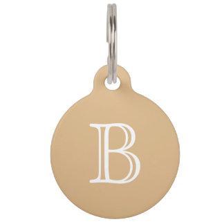 Burlywood Brown White Monogram Initial Name Simple Pet Name Tag