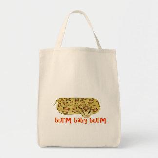 Burm Baby Burm Fire Burmese Python Tote Bags