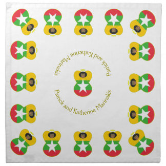 Burma Angel Flag Black Hair Printed Napkin