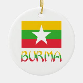 Burma Flag & Word Ceramic Ornament