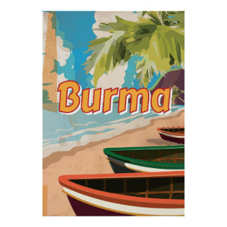 Burma Vintage vacation Poster