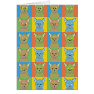 Burmese Cat Cartoon Pop-Art Card