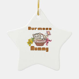 Burmese Cat Mom Ceramic Ornament
