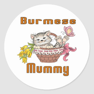 Burmese Cat Mom Classic Round Sticker