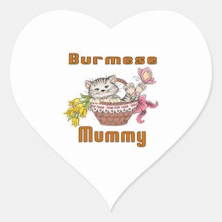 Burmese Cat Mom Heart Sticker