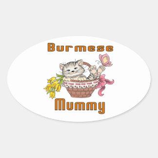 Burmese Cat Mom Oval Sticker