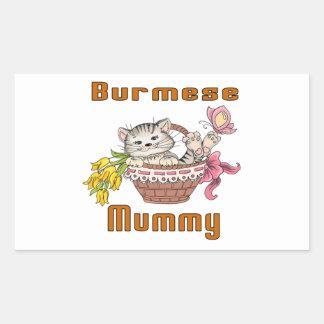 Burmese Cat Mom Rectangular Sticker
