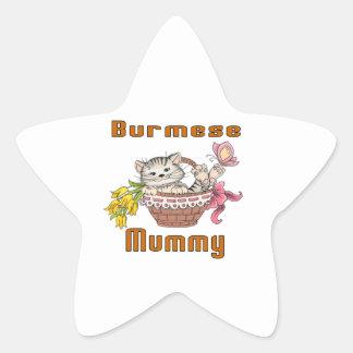 Burmese Cat Mom Star Sticker