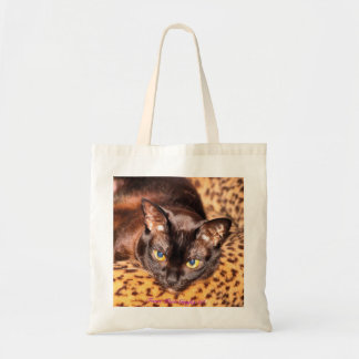 Burmese on Leopard Cat Bed Canvas Bag