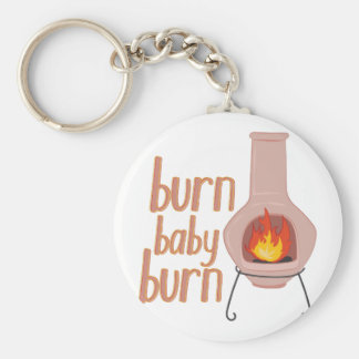 Burn Baby Burn Basic Round Button Key Ring
