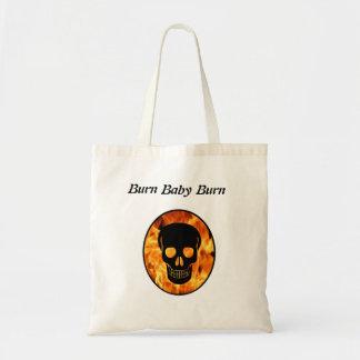 Burn Baby Burn Flaming Skull Tote Bag