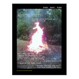 burn baby burn postcard