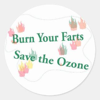 burn your farts classic round sticker