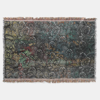 Burned Color  Paisley Pattern on  Wood Throw Blanket