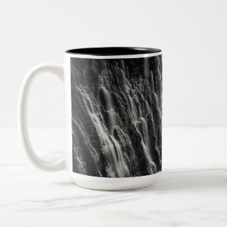 Burney Falls in Black and White Two-Tone Coffee Mug