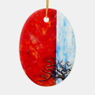 Burning Bush Ceramic Oval Decoration