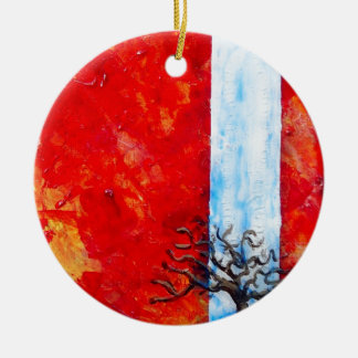 Burning Bush Round Ceramic Decoration