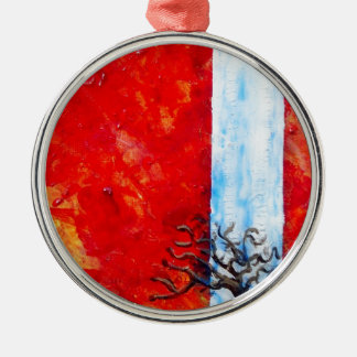 Burning Bush Silver-Colored Round Decoration
