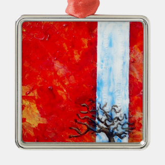 Burning Bush Silver-Colored Square Decoration