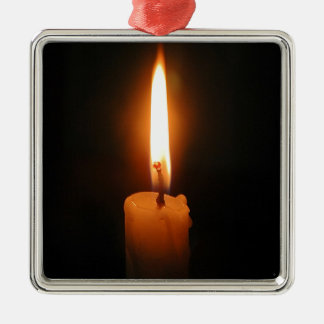 Burning Candle Silver-Colored Square Decoration