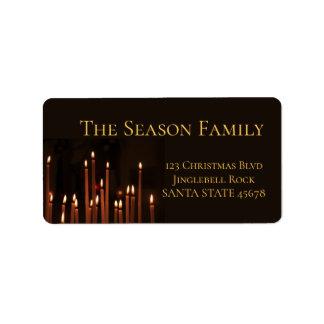 Burning Candles Christmas label