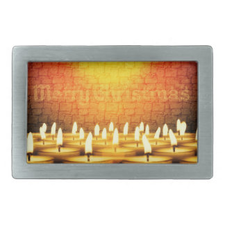 Burning candles - Merry Christmas Rectangular Belt Buckles