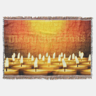 Burning candles - Merry Christmas Throw Blanket
