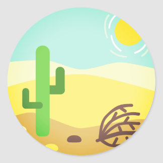 Burning Desert Emoji Classic Round Sticker