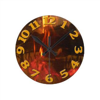Burning Fire Round Clock