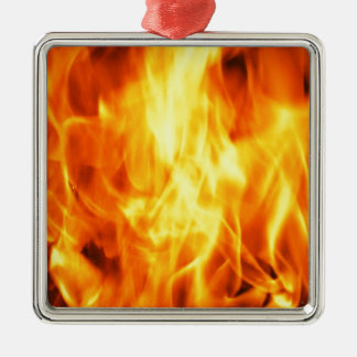Burning Fire Silver-Colored Square Decoration